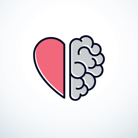 Ilustración de Heart and Brain concept, conflict between emotions and rational thinking, teamwork and balance between soul and intelligence. - Imagen libre de derechos