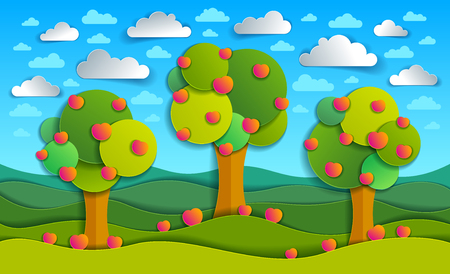 Three apple trees in the field scenic nature landscape cartoon modern style paper cut vector illustration.