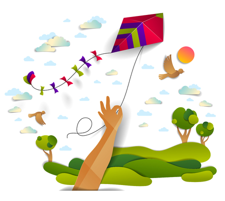 Ilustración de Hand holding kite over cloudy sky birds flying and sun, meadows and trees scenic nature landscape, freedom and easiness emotional concept, vector modern style paper cut 3d illustration. - Imagen libre de derechos