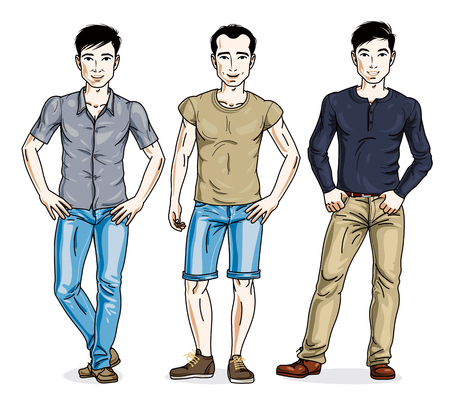 Handsome young men standing in stylish casual clothes. Vector diverse people illustrations set. Lifestyle theme male characters.