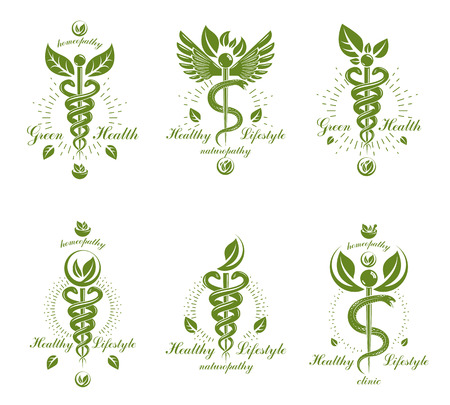 Illustration pour Collection of Caduceus logotypes composed with poisonous snakes and bird wings, healthcare conceptual vector illustrations. Alternative medicine theme. - image libre de droit