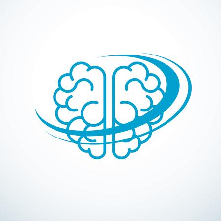 Illustration pour Human anatomical brain illustration, logo or icon. - image libre de droit