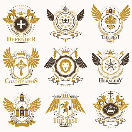 Ilustración de Collection of vector heraldic decorative coat of arms isolated on white and created using vintage design elements, monarch crowns, pentagonal stars, armory, wild animals. - Imagen libre de derechos