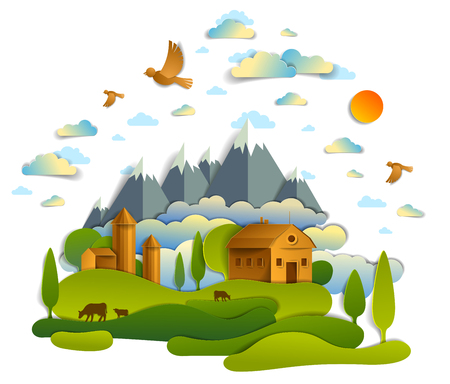 Illustration pour Farm in scenic landscape of fields and trees, mountains peaks and country buildings, birds and clouds in sky, cow milk ranch, countryside lazy summer time vector illustration in paper cut style. - image libre de droit