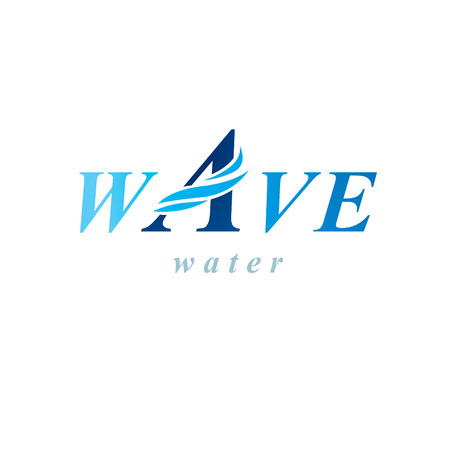 Pure aqua ecology vector logotype. Water day theme. Human and nature coexistence concept.