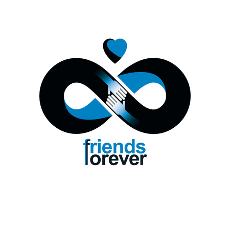 Illustration pour Friends Forever, everlasting friendship, beautiful vector logo combined with two symbols of eternity loop and human hands. - image libre de droit