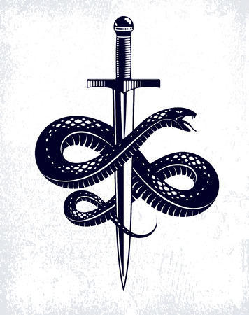 Snake and Dagger, Serpent wraps around a sword vector