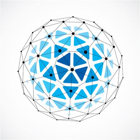 Illustration pour 3d  digital wire frame spherical object made using triangular facets. - image libre de droit