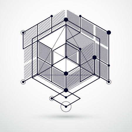 Illustration pour Lines and shapes abstract vector isometric 3D black and white background. Abstract scheme of engine or engineering mechanism. Layout of cubes, hexagons, squares, rectangles and different elements - image libre de droit