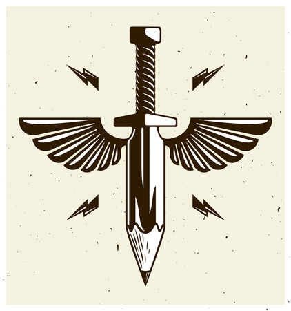 Clipart of a Black and White Tribal Winged Sword 5 - Royalty Free Vector  Illustration by Vector Tradition SM #1188556