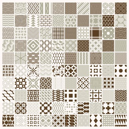 Illustration for Vector graphic vintage textures created with squares, rhombuses and other geometric shapes. 100 seamless patterns collection best for use in textiles design. - Royalty Free Image
