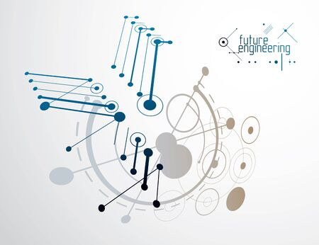 Illustration pour Vector industrial and engineering background, future technical plan. Abstract blueprint of mechanism, mechanical scheme. - image libre de droit