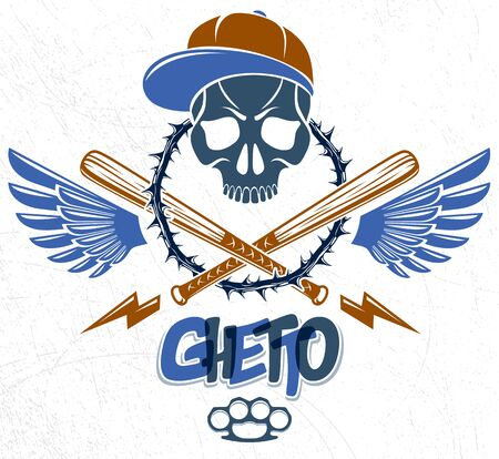 Illustration pour Gangster emblem design or tattoo with aggressive skull baseball bats and other weapons and design elements, vector, criminal ghetto vintage style, gangster anarchy or mafia theme. - image libre de droit