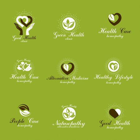 Illustration pour Living in harmony with nature metaphor, set of green health ideas. Wellness center abstract modern emblems. - image libre de droit