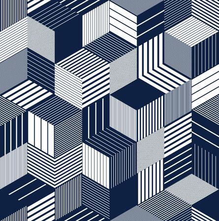 Illustration pour 3D cubes seamless pattern vector background, lined dimensional blocks, architecture and construction, geometric design. - image libre de droit