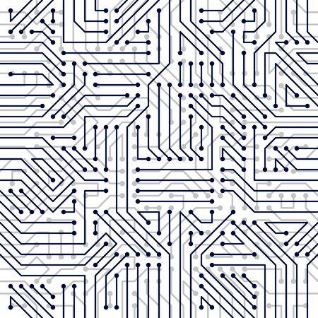 Illustration pour Microchip board seamless pattern, vector background. Circuit board technology electronics wallpaper repeat design. - image libre de droit