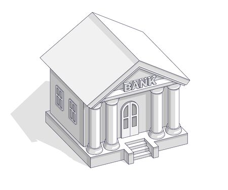 Illustration for Bank building retro vintage architecture cartoon isolated over white background. Vector 3d isometric business and finance illustration, thin line design. - Royalty Free Image