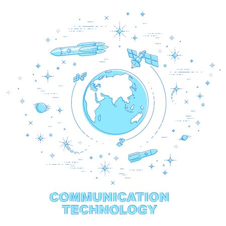Small Earth in endless space surrounded by artificial satellites, stars and other elements. Global communication technology theme. Thin line 3d vector illustration isolated on white.