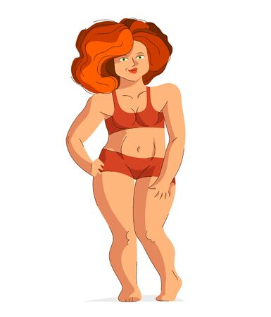 Attractive and sexy plus size woman isolated on white, vector illustration concept of body positivity health and happiness, love and accept your body idea.