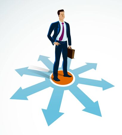 Illustration pour Doubting businessman choosing different directions which way to go vector illustration, business man have a dilemma because or different options or opportunities. - image libre de droit