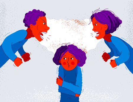 Illustration pour Quarrel between parents make child suffer, little scared girl daughter is a victim because of her father and mother aggressively arguing, vector illustration, domestic violence and abuse. - image libre de droit
