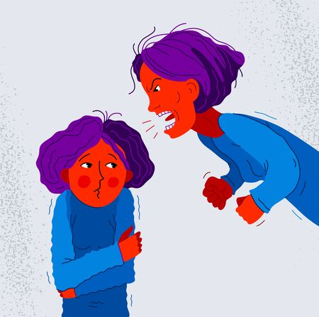 Illustration pour Abusive mother vector illustration, bad mother scream and shout on little scared girl her daughter, domestic violence, victim child, despotic parent, psychological violence abuse. - image libre de droit
