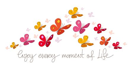 Enjoy every moment of life vector concept poster or card with butterflies and lettering.