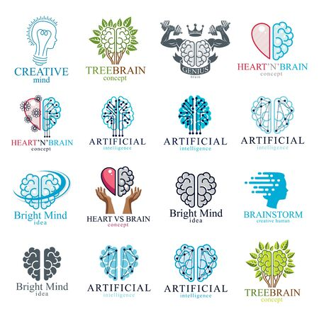 Illustration pour Brain and intelligence vector icons or logos concepts set. Artificial Intelligence, Bright Mind, Brain Training, Feelings soul versus Rational thinking, Creativeness, Brainstorming, Mental Health. - image libre de droit