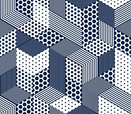Illustration pour Seamless dotted and lined cubes vector background, dots and lines boxes repeating tile pattern, 3D architecture and construction, geometric design. - image libre de droit