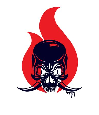 Illustration pour Devil sign horned skull in flames vector illustration classic style tattoo, dead scull with animal horns on fire. - image libre de droit