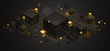 Illustration pour Abstract vector design with cluster of 3D cubes with golden elements vector design, luxury color style, jewelry classy elegant geometric design, shiny gold realistic abstraction. - image libre de droit
