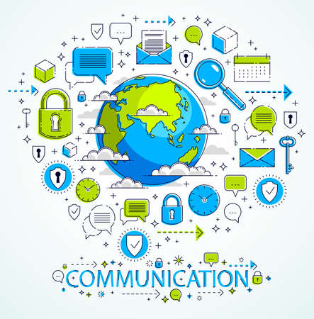 Illustration pour Global communication concept, planet earth with different icons set, internet activity, big data, global network connection, vector, elements can be used separately. - image libre de droit