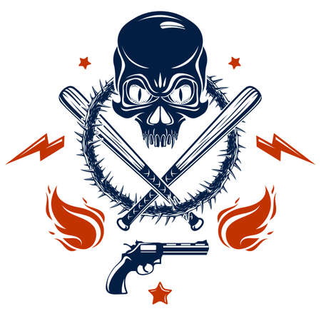 Illustration pour Gangster emblem logo or tattoo with aggressive skull baseball bats and other weapons and design elements, vector, criminal ghetto vintage style, gangster anarchy or mafia theme. - image libre de droit