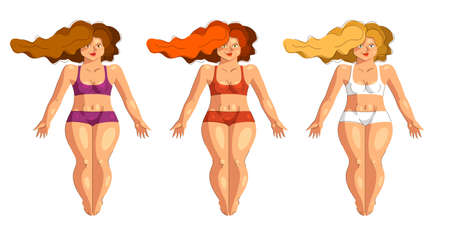 Attractive and sexy plus size woman isolated on white, vector illustration concept of body positivity health and happiness, love and accept your body idea, hair colors set.
