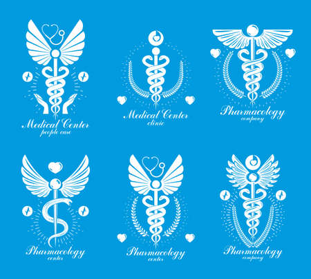 Illustration pour Aesculapius Greek vector abstract logotypes composed with wings, heart shapes, ecg charts and laurel wreaths. Medical symbols for use in pharmacology business and medical advertisement. - image libre de droit