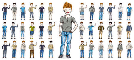 Illustration pour Cute little child boys early teenagers in different casual wear standing in full length and posing vector illustrations isolated big set, happy beautiful kids drawings collection, people diversity. - image libre de droit
