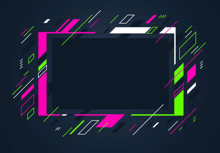 Illustration for Artistic colorful frame with different elements over dark, vector abstract background art style bright shiny colors, geometric design. - Royalty Free Image