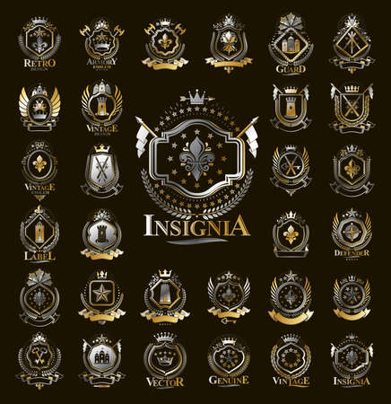 Illustration for Vintage heraldic emblems vector big set, antique heraldry symbolic badges and awards collection, classic style design elements, family emblems. - Royalty Free Image