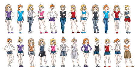Illustration for Casual wear clothes cute and attractive women vector illustrations big collection isolated on white background, perfect slim curvy body gorgeous female drawings, diverse people girls set. - Royalty Free Image