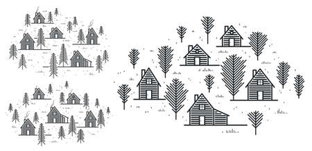 Illustration pour Rural village in woods linear vector illustration isolated on white, wooden houses in trees forest line art drawing, countryside log cabins cottages, travel in wilderness for rest. - image libre de droit