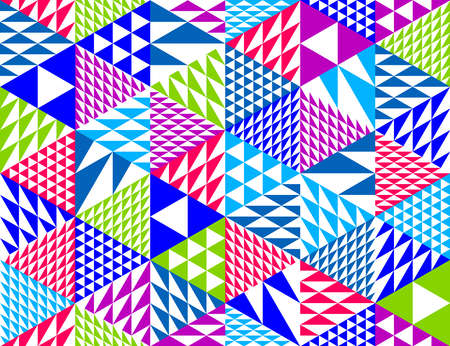 Illustration pour Geometric 3D seamless pattern with cubes, rhombus and triangles boxes blocks vector background, architecture and construction, wallpaper design. - image libre de droit