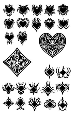 Set with more symbols, clubs and hearts
