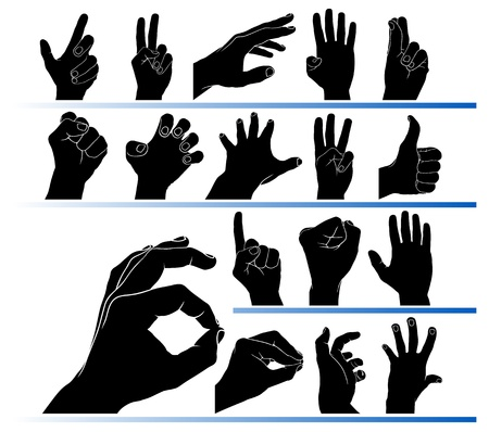 Set of hands in the vector