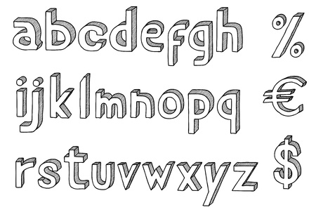 Hand drawn vector abc, alphabet with dollar and euro