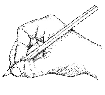 Illustration pour Hand with pencil - image libre de droit