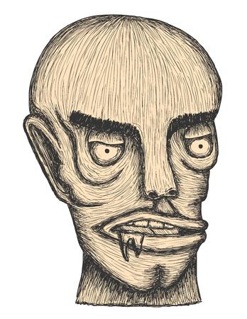 Hand drawn individual head of man