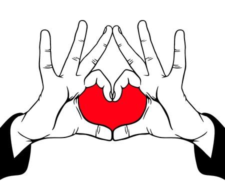 Hands symbolic love, vector illustration