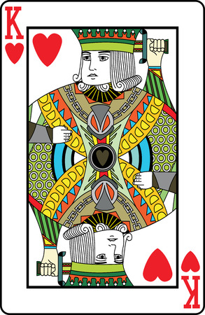 King of hearts playing card, vector illustration