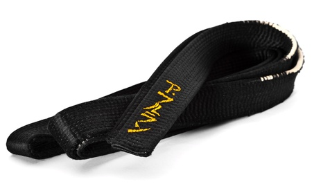 Black belt wiht japanese ideograms