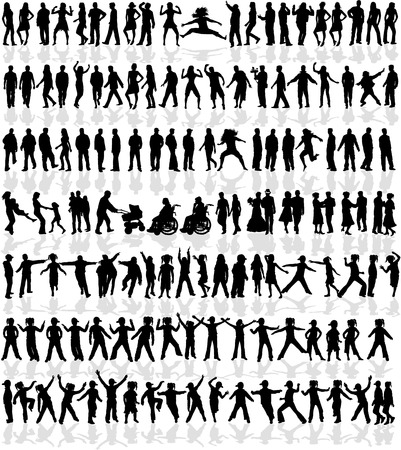 Illustration for Large collection of people - 140 profiles - Royalty Free Image